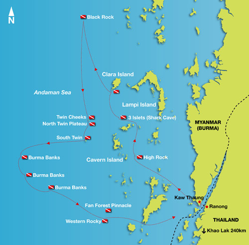 Mergui Archipelago Diving Burma Liveaboard route map